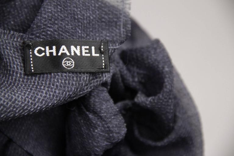 CHANEL Blue Chiffon Silky Fabric LONG SLEEVE SHIRT Blouse w/ RUFFLES For Sale 2