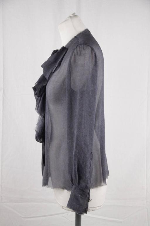 Women's CHANEL Blue Chiffon Silky Fabric LONG SLEEVE SHIRT Blouse w/ RUFFLES For Sale