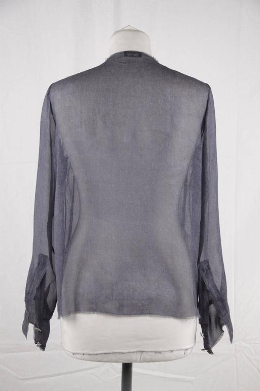 CHANEL Blue Chiffon Silky Fabric LONG SLEEVE SHIRT Blouse w/ RUFFLES For Sale 1