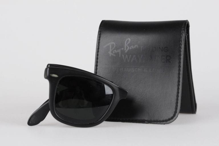 ray ban wayfarer matte  ray ban bausch & lomb vintage folding wayfarer matte black sunglasses 3