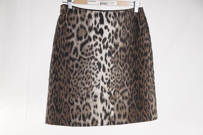 LANVIN Leopard Silk Blend SKIRT Hiver WINTER 2004 Size 38 2