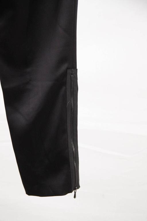 CHANEL Black Pure Silk PANTS Trousers w/ ZIP Detail SIZE 36 3