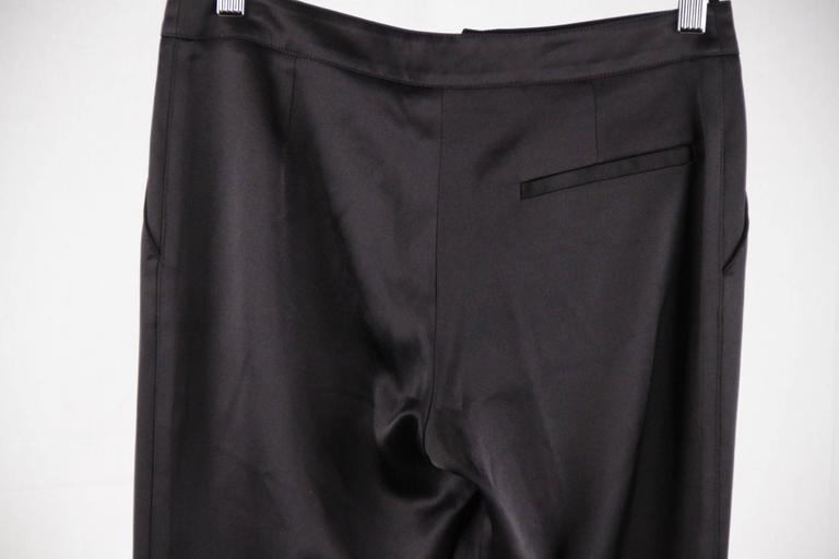 CHANEL Black Pure Silk PANTS Trousers w/ ZIP Detail SIZE 36 4