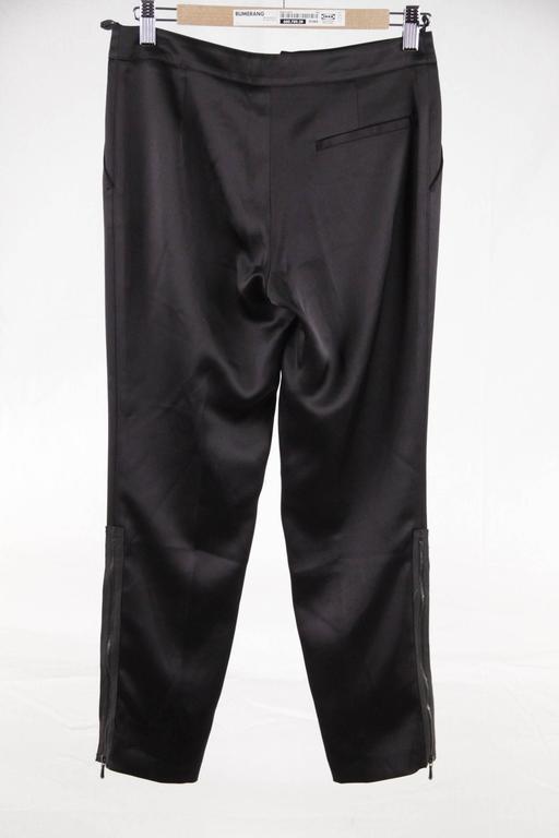 CHANEL Black Pure Silk PANTS Trousers w/ ZIP Detail SIZE 36 5