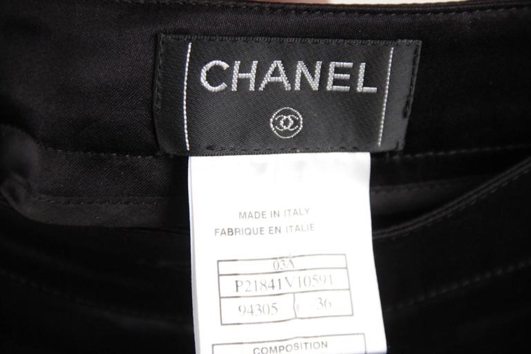 CHANEL Black Pure Silk PANTS Trousers w/ ZIP Detail SIZE 36 7