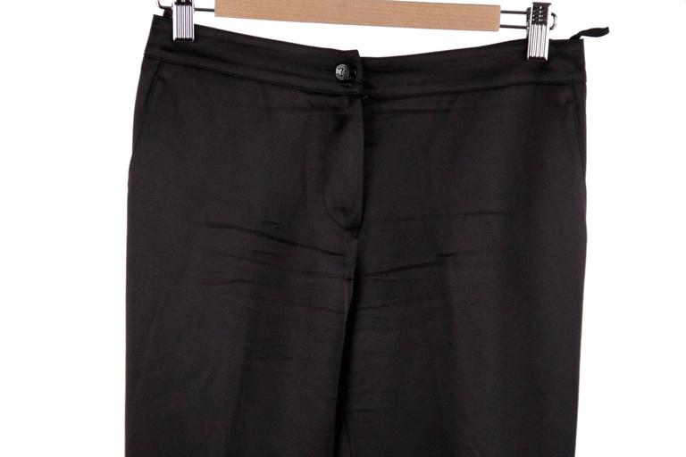 CHANEL Black Pure Silk PANTS Trousers w/ ZIP Detail SIZE 36 2