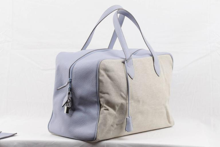 Gray BATTISTONI Beige Canvas & Light Blue Leather TRAVEL BAG Carry On WEEKENDER For Sale