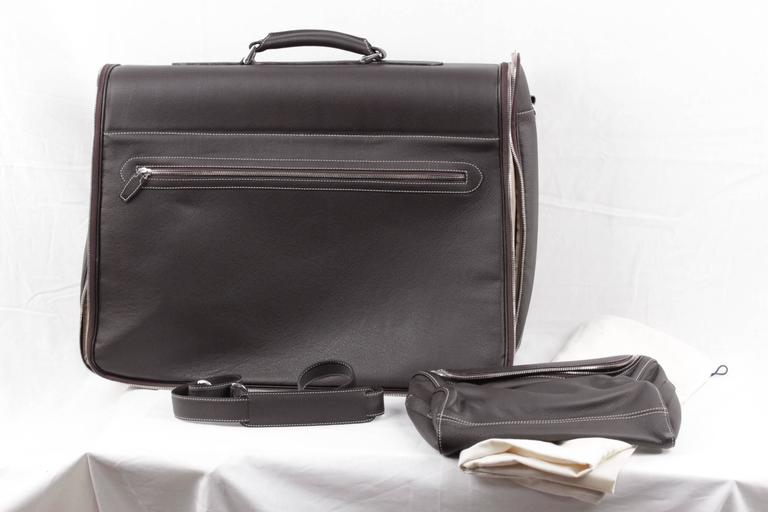 BATTISTONI Brown leather GARMENT CARRIER BAG Travel Suit Cover w/ WASH BAG 3