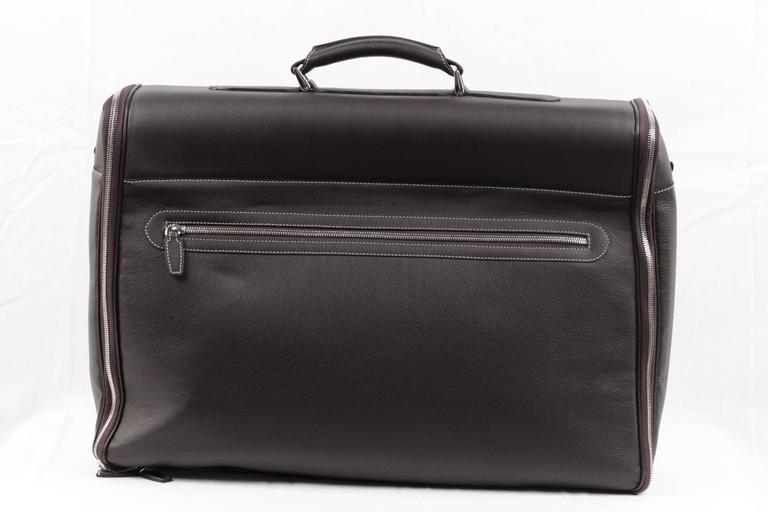 BATTISTONI Brown leather GARMENT CARRIER BAG Travel Suit Cover w/ WASH BAG 4