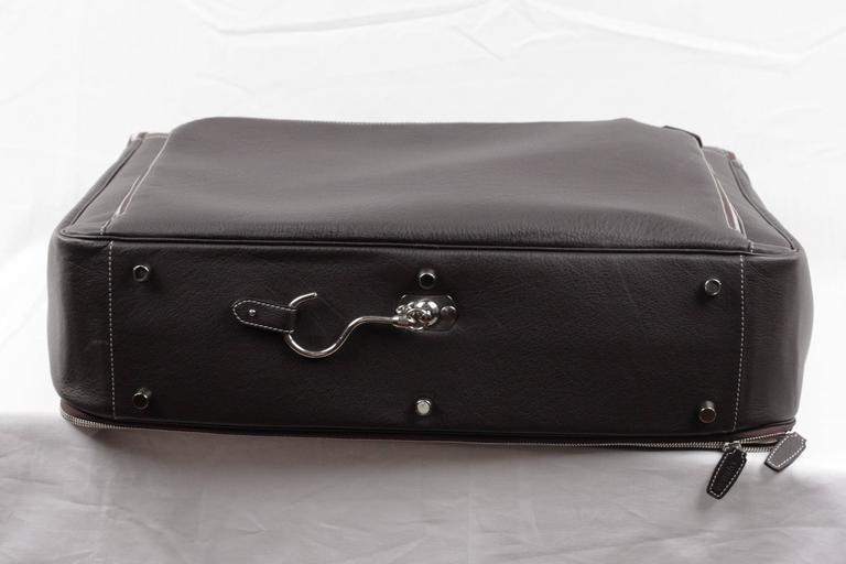 BATTISTONI Brown leather GARMENT CARRIER BAG Travel Suit Cover w/ WASH BAG 5