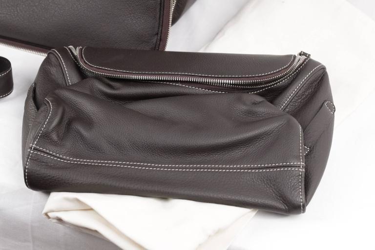 BATTISTONI Brown leather GARMENT CARRIER BAG Travel Suit Cover w/ WASH BAG 6