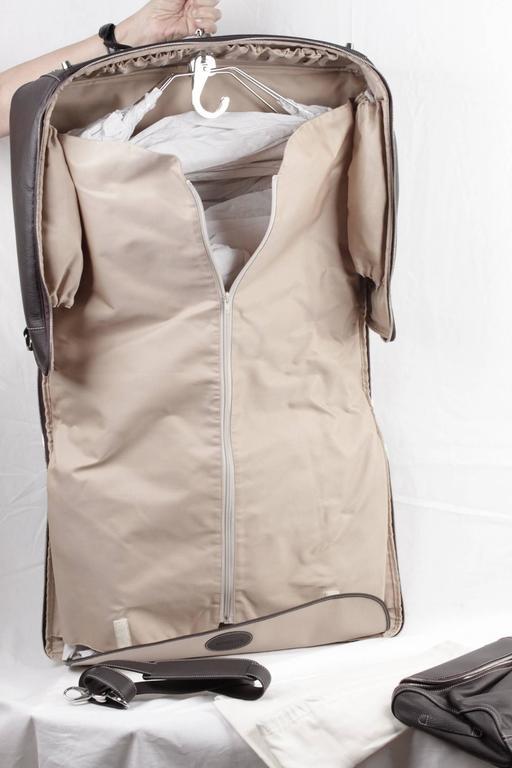BATTISTONI Brown leather GARMENT CARRIER BAG Travel Suit Cover w/ WASH BAG 7