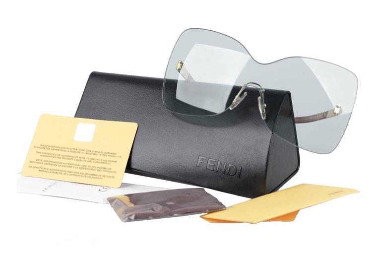 FENDI Oversized Rimless SUNGLASSES FS5273 467 Aqua S/S 2012 SHADES w/CASE 9