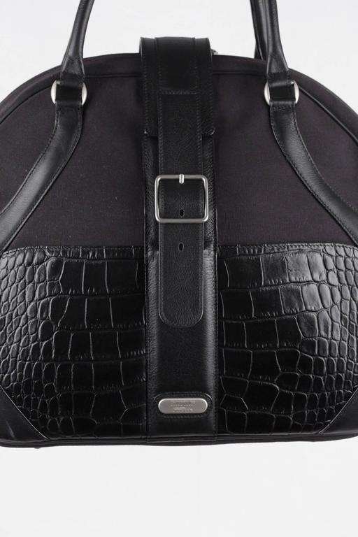 Soft Carry On Bag With Unique Shape Crafted In Sy Canvas And Crocodile