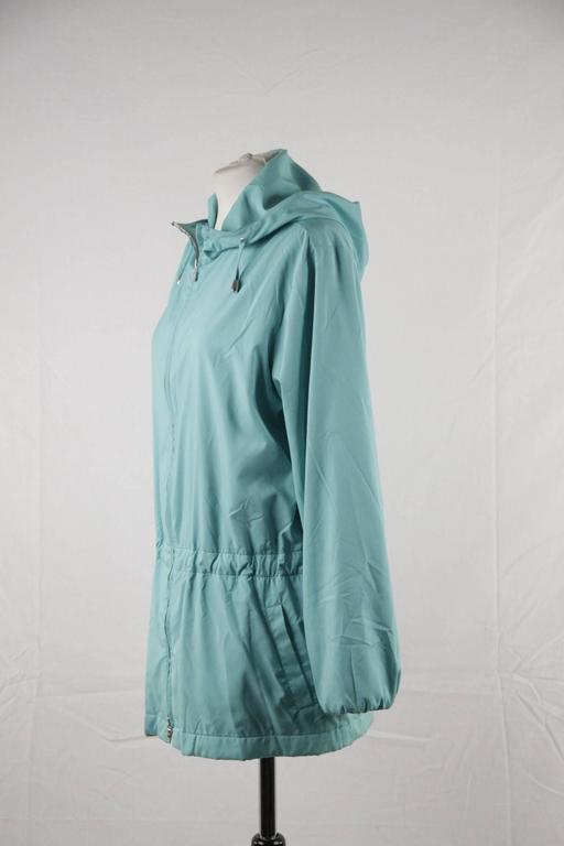 Blue LORO PIANA Turquoise LIGHT WEIGHT PADDED JACKET cashmere lining Size 42 For Sale
