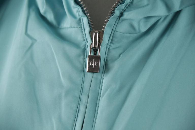 LORO PIANA Turquoise LIGHT WEIGHT PADDED JACKET cashmere lining Size 42 In Good Condition For Sale In Rome, Rome
