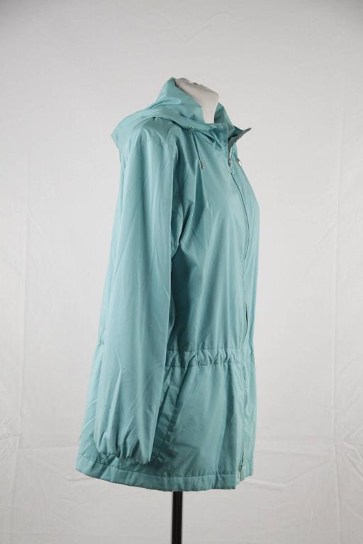 Women's LORO PIANA Turquoise LIGHT WEIGHT PADDED JACKET cashmere lining Size 42 For Sale