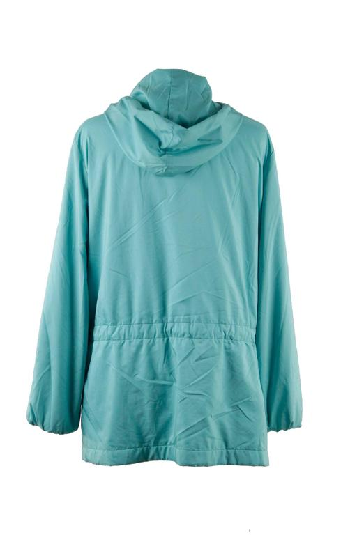 LORO PIANA Turquoise LIGHT WEIGHT PADDED JACKET cashmere lining Size 42 For Sale 1
