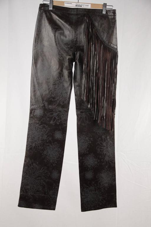 JUST CAVALLI Embossed Leather PANTS Trousers w/ FRINGES Size 40 4