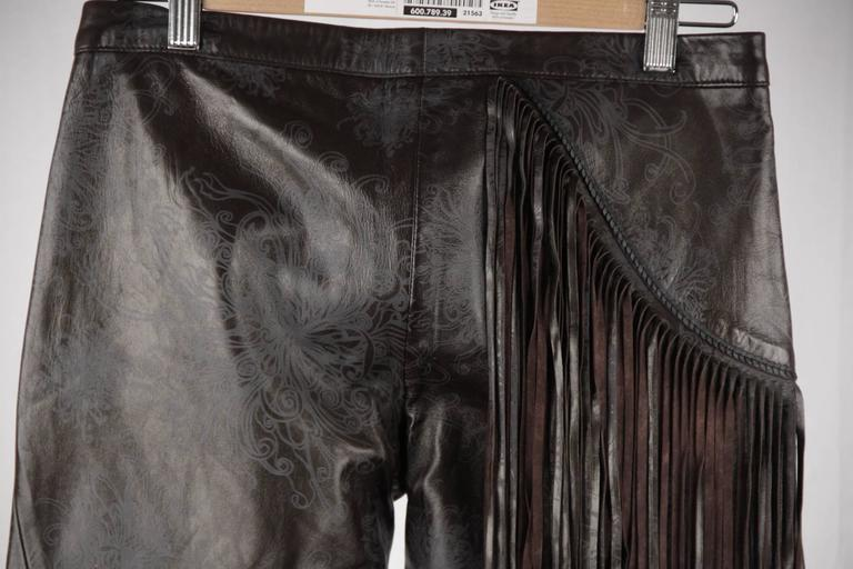 JUST CAVALLI Embossed Leather PANTS Trousers w/ FRINGES Size 40 5