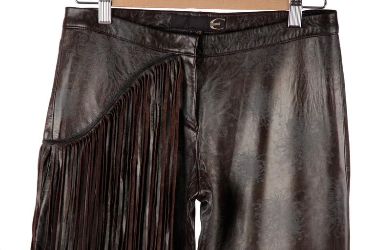 JUST CAVALLI Embossed Leather PANTS Trousers w/ FRINGES Size 40 2