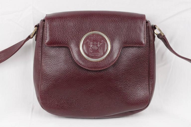 GIANNI VERSACE Burgundy Leather SHOULDER BAG Messenger w/ MEDUSA ...