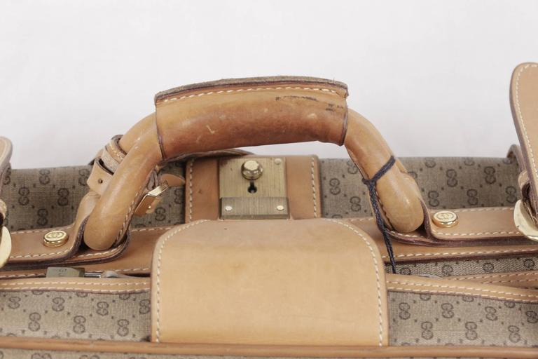 GUCCI VINTAGE Tan GG MONOGRAM Canvas CABIN SIZE SUITCASE Travel Bag In Fair Condition For Sale In Rome, Rome
