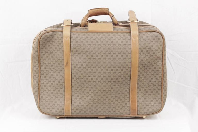 Brown GUCCI VINTAGE Tan GG MONOGRAM Canvas CABIN SIZE SUITCASE Travel Bag For Sale