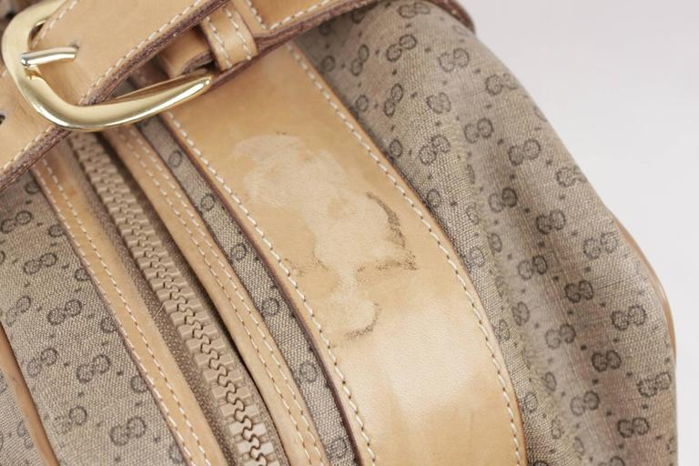 Women's or Men's GUCCI VINTAGE Tan GG MONOGRAM Canvas CABIN SIZE SUITCASE Travel Bag For Sale