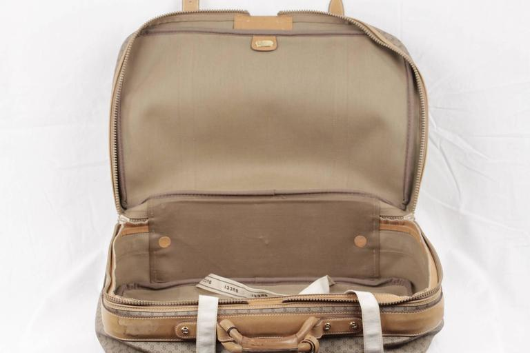 GUCCI VINTAGE Tan GG MONOGRAM Canvas CABIN SIZE SUITCASE Travel Bag For Sale 2