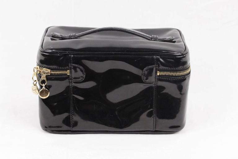 Chanel Black Patent Leather Cosmetic Bag Vanity Case