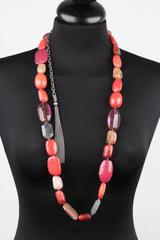 PELLINI MILANO Red Resin Beads & Natural Stones BEADED LONG NECKLACE
