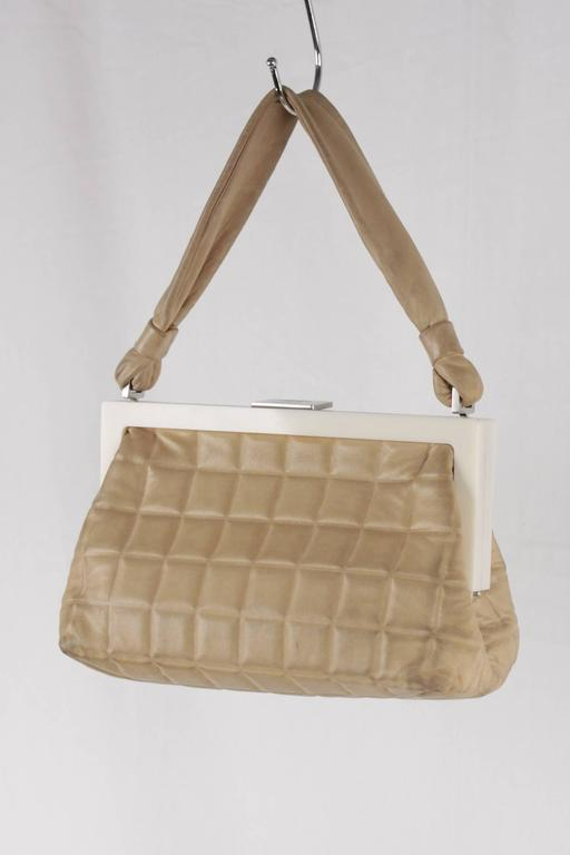 Chanel Vintage Handbag In Tan Quilted Leather White Lucite Frame Silver Metal Hardware