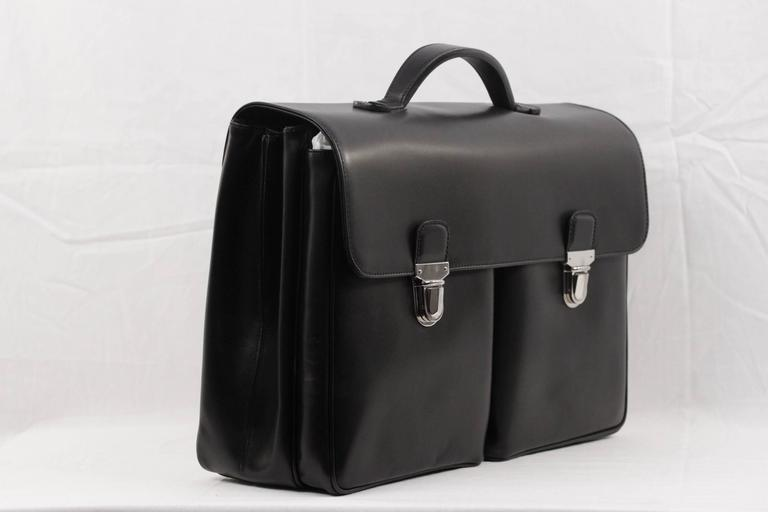 Battistoni Black Leather Large Briefcase Handbag Work Business Bag In Excellent Condition For Rome