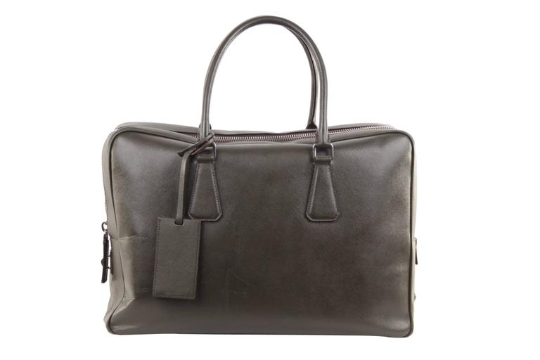 0c403297 PRADA Military Green SAFFIANO Leather ZIP TOP BRIEFCASE Work Bag