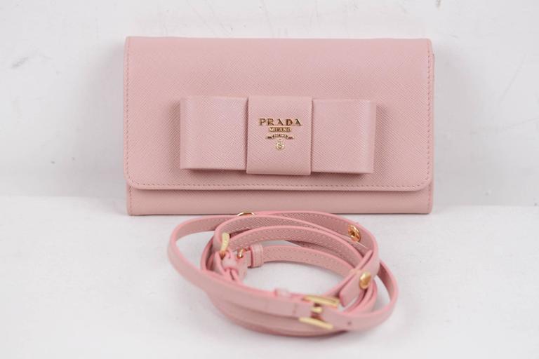 086b05e7389 PRADA Pink Leather SAFFIANO FIOCCO Ribbon STRAP WALLET Purse WOC 1M1437 w  BOX For Sale
