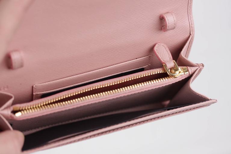 f82572b58b7 Women s PRADA Pink Leather SAFFIANO FIOCCO Ribbon STRAP WALLET Purse WOC  1M1437 w BOX For