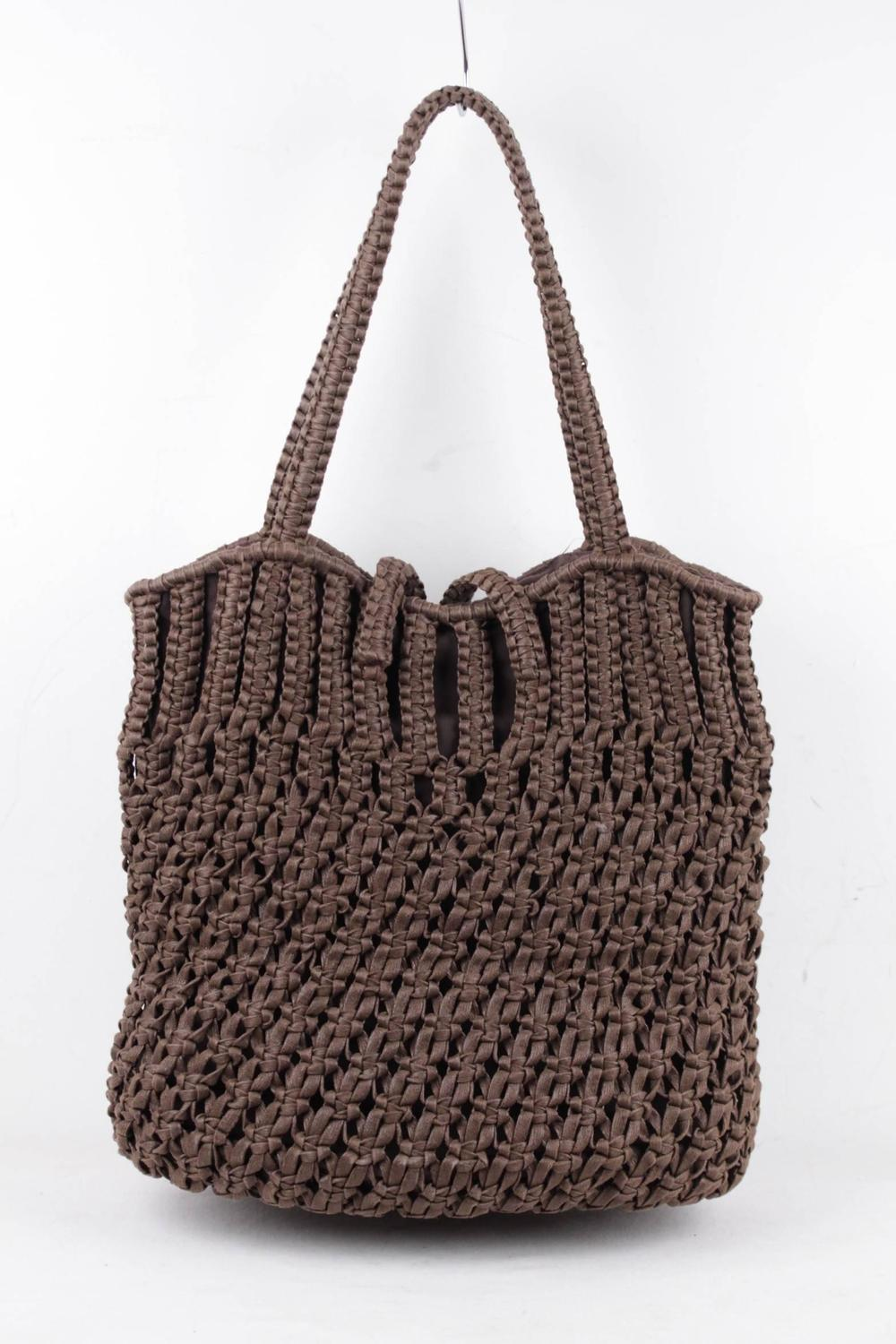 David And Scotti Brown Crochet Tote Shoulder Bag Shopping