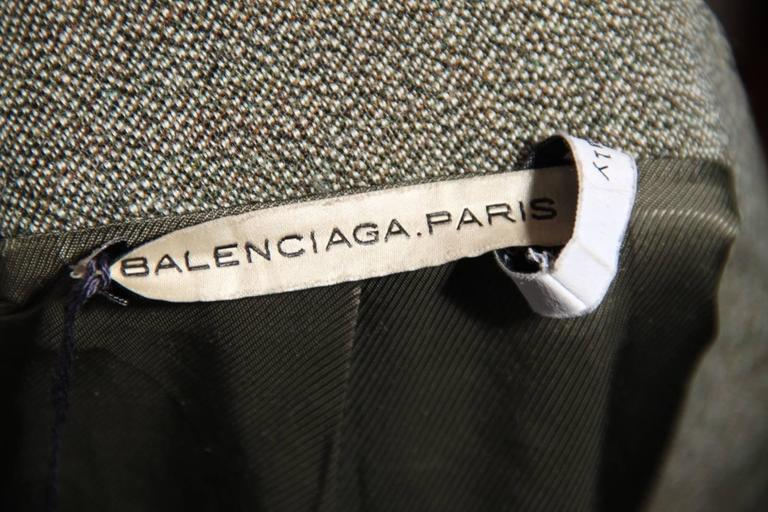 BALENCIAGA Gray Fleece Wool BLAZER Jacket Sz 38 IT For Sale 3
