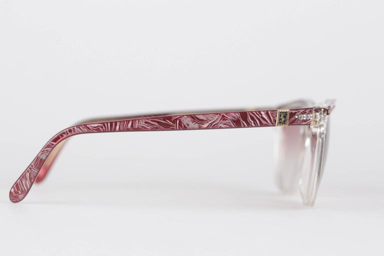 YVES SAINT LAURENT Vintage MINT cat-eye SUNGLASSES HYRTHIOS 58/14 w/Rhinestones In New Never_worn Condition For Sale In Rome, Rome