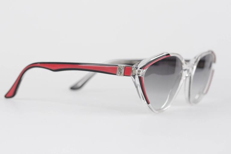 YVES SAINT LAURENT Vintage MINT womens Cat-Eye SUNGLASSES Black/red ASIOS 56-18 2