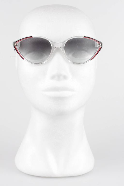 YVES SAINT LAURENT Vintage MINT womens Cat-Eye SUNGLASSES Black/red ASIOS 56-18 3