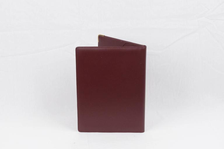 cartier paris burgundy leather address book notepad agenda cover for