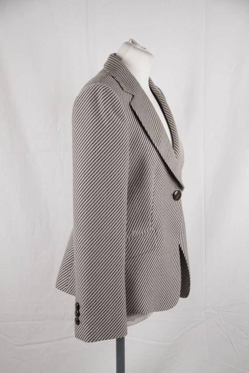 Gray ARMANI COLLEZIONI Striped Wool & Cashmere BLAZER Jacket SIZE 44 For Sale