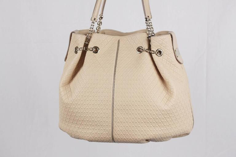 Women's TOD'S Beige Embossed Leather BUCKET Shoulder Bag TOTE Shopping Bag For Sale