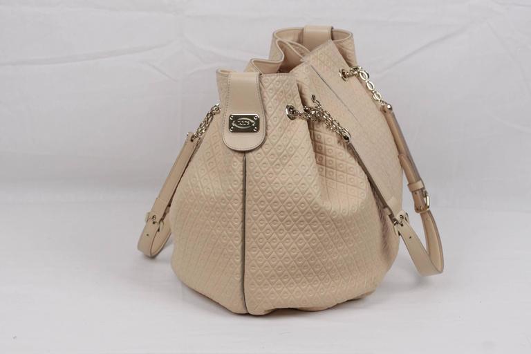 TOD'S Beige Embossed Leather BUCKET Shoulder Bag TOTE Shopping Bag For Sale 1