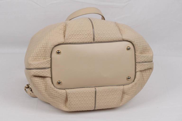 TOD'S Beige Embossed Leather BUCKET Shoulder Bag TOTE Shopping Bag For Sale 2