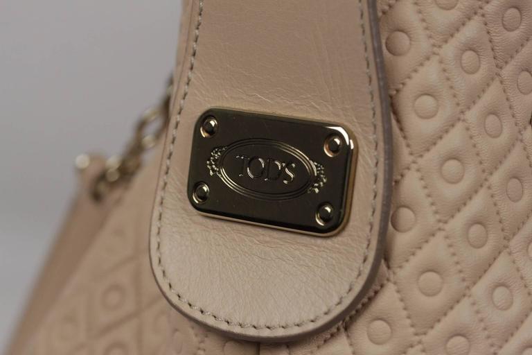 TOD'S Beige Embossed Leather BUCKET Shoulder Bag TOTE Shopping Bag For Sale 4