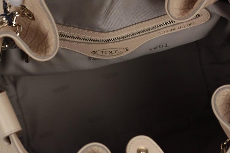 TOD'S Beige Embossed Leather BUCKET Shoulder Bag TOTE Shopping Bag For Sale 3