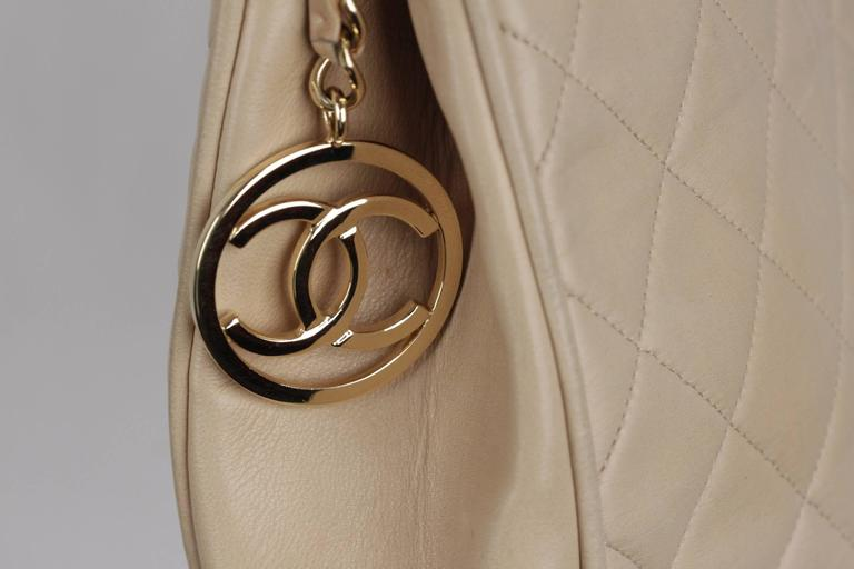 Chanel Vintage Beige Quilted Leather Tote Shoulder Bag W Chain Strap In Good Condition For